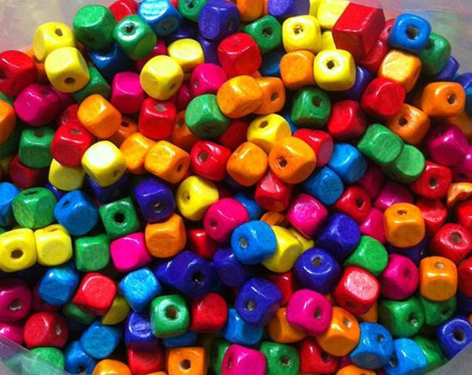 Wooden Square Beads Mixed Multicolor DIY Supplies Bulk Order Wholesale for Bracelet, Necklace Gift Relax Charm