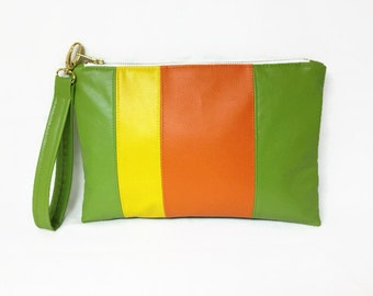 Lime Green Clutch Wristlet, Medium Rectangular Clutch, Green Orange Yellow Color Block Summer Clutch, Green Vegan Leather Clutch