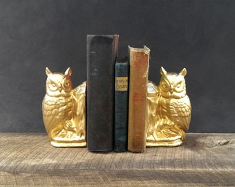 Gold Owl Bookends - Ceramic Owl Figurines - Set of Two
