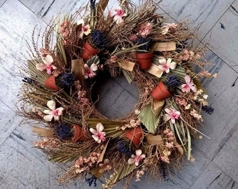 """18"""" Spring Wreath - Dried Floral Wreath - Spring Decoration"""