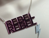"Laser cut pink mirror Acrylic ""Rebel Rebel"" David Bowie influenced necklace"