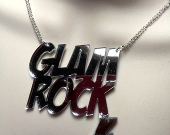 GLAM ROCK...with hanging flash in silver mirror Acrylic Statement necklace
