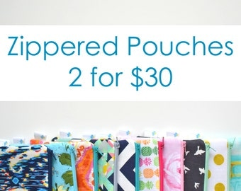 Zippered Pouches 2 for 30, Makeup Bag Set, Cosmetic Bag Set, Zippered Pouch Set, Zip Bag Set, Small Zip Bag, Gifts for Women Under 50