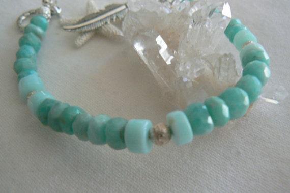Amazonite blue opal gemstone bracelet- Blue green boho bracelet- Silver stone bracelet- Starfish feather charm bracelet- Marine jewelry gift