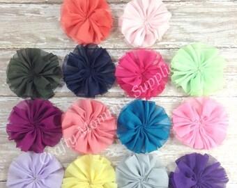 "ON SALE Set of 10 - 2 1/2"" Solid Twirl Flowers - U Choose Colors - Ballerina Flower, Supplies, Headbands, Fashion project, Baby headbands, W"