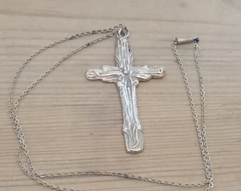 Large vintage sterling silver cross and chain