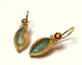 Labradorite and Garnet Earrings - Gold Earrings - 22K Gold Earrings - Free Shipping!!