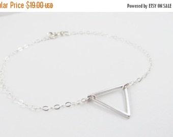 Sterling Silver Triangle Bracelet, Geometric Bracelet, Gift for Her