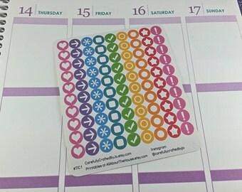 Mini Icon Planner Stickers, Rainbow, Erin Condren Life Planer, Reminder ECLP vertical Plum Paper, MAMBI, planner accessory