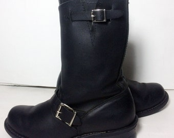 Frye 77400 Engineer Black Leather Motorcycle Riding Boots Women's Size 7.5