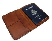 Leather passport holder, Leather passport wallet, passport cover, travel wallet, personalized wallet, brown veg tan, Hand made in USA