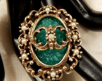 Beautiful Ornate  Green Molded Glass and Faux Pearl Brooch/Pendant