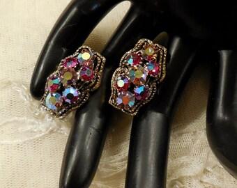 Vintage Siam AB Rhinestone and Light Purple AB Rhinestone Earrings