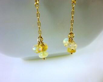 Ethiopian Opal Threader Earrings, Chakra Earrings, Root & Sacral Chakras, Welo Opals, 14K Gold Fill Threaders, Healing Energy Chakra Jewelry
