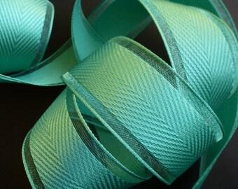 Fil ruban tranchant. Grossgrain, vert d'eau, Turquoise/vert.  Emballage cadeau.  Fournitures florales.  38mm/1,5 pouces.  par mètre
