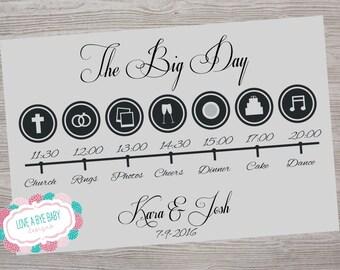 Wedding Timeline Card Printable. Customize.