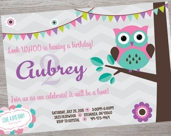 Owl theme Birthday Party baby shower invitation printable