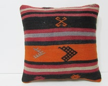 orange decorative pillow arrow throw pillow black kilim pillow 16x16 pillow cover antique rug pillow handmade pillow knitted pillow 25810