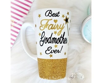 Best Godmother Ever Mug, Fairy Godmother Gift, Fairy Godmother Mug, Godmother Glitter Mug, Godmother Glitter Mug, Future Godmother Gift