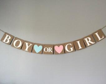 Boy or Girl banner, gender reveal banner, chipboard banner, gender reveal decor, photo prop
