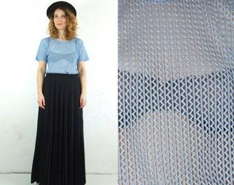 ON SALE 90's vintage women's blue net transparent T-shirt
