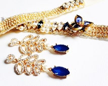 Blue Swarovski Crystals Earring - Vintage earring- Chandelier Earrings - One of a Kind Hand Made
