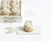 Spring Blossom Flower Bunny Ear Vanilla Paris Brest -ONE- French Pastry in 1/12th miniature dollhouse patisserie