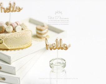 HELLO Cake Topper/ Sign- Dollhouse Miniature Decor Accessories