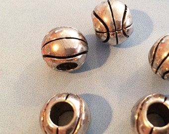 8 Silver Plated Basketball Beads, 5mm Round Leather Findings