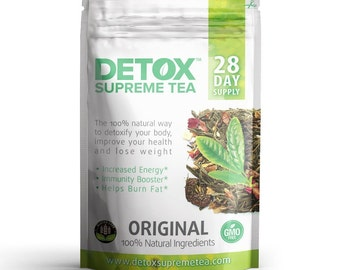 Detox Supreme Weight Loss Tea: Helps Cleanse Body, Reduce Bloating, & Suppressing Appetite, 28 Day Detox Tea Supply
