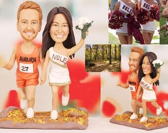 Personalised wedding cake topper - Track Runner and Cheerleader Wedding Cake Topper (Free shipping)