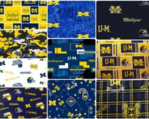 NCAA University of Michigan Wolverines Blue & Gold College Logo Cotton Fabric by Sykel! [Choose Your Cut Size]