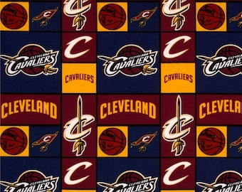 Cleveland Cavaliers National Basketball NBA 83CLE Wine & Gold Cotton Fabric by Camelot! [Choose Your Cut Size]