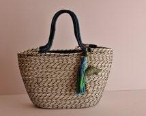 White and Black Basket Bag, Monochrome Basketbag, Summer BohoChic Bag, Handmade Rope Bag