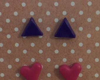 Hot Pink Hearts and Purple Triangles