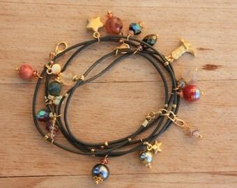 Leather Wrap Charm Bracelet ,  5xWrap Khaki  Leather Bracelet with Colorful Gemstones