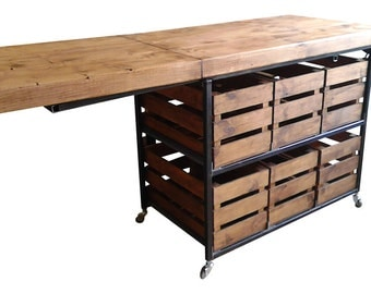 Fabulous Industrial Rustic Kitchen Island With Folding Breakfast Bar Table