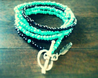 Wrap bracelet/necklace with Feather Charm