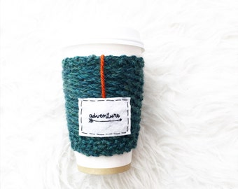 Adventure Coffee Travel Mug Cozy, OnanaKnits Mug Cozy, Knit Travel Mug Cozy, Personalized Cup Cozy, Knit Travel Cozy, Tea Cozy, Womens Gift