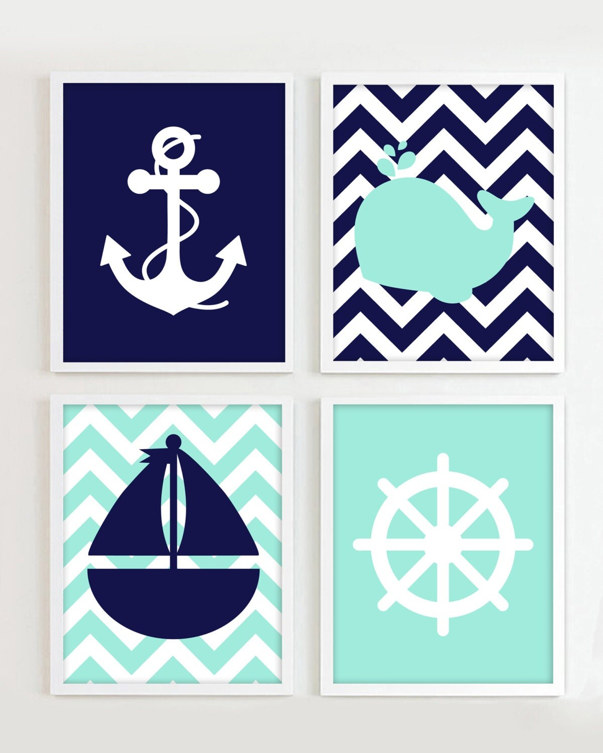 NAUTICAL PRINTS Nautical Navy and Teal set of 4 8x10 JPG