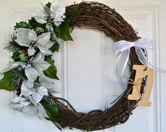 Monogram Front Door Wreath | Silver Floral Arrangement