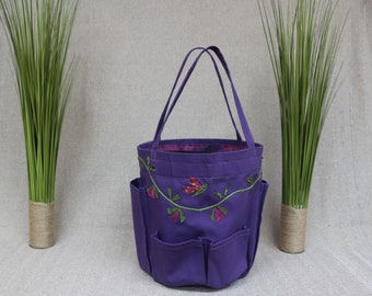 Garden bucket bag in purple canvas with batik flower vine and flying insects