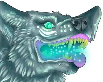 Vibrant Neon Wolf Prints.