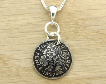 For 60th: 1957 UK Sixpence Necklace 60th Birthday or 60th Anniversary Gift Coin Jewelry