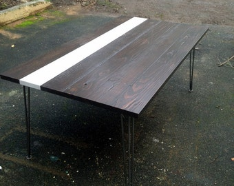 Reclaimed, recycled salvaged wood dining table.