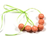 Handmade Ceramic Beads Round in a Soft CoralRed