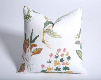 Floral Tea Towel Pillow Cover / Embroidered White Pillow Cover / 18x18 green pillow / 24x24 Embroidered pillow cover / 14x36-447I