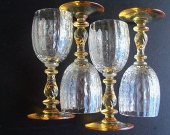 Yellow Stemmed Crystal Vintage Cordial Glasses