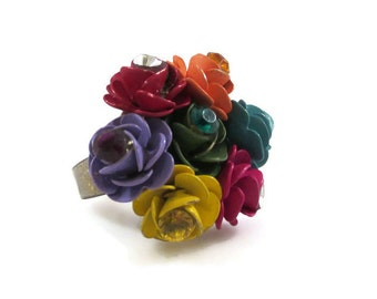 Colorful Rose Bouquet Adjustable Ring with Rhinestone Accents, Statement Ring, Vintage Ring, Flower Ring, Colorful Ring, Colorful Flower