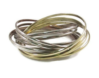 Stacked Intertwined Gold and Silver Bangle Bracelet
